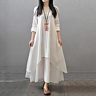 Mulheres Vestido Solto / Swing Plus Sizes Sólido Longo Decote V Poliéster