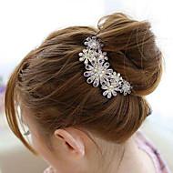 Coréia do Sul ornamentos de alta qualidade em pentes de cabelo fecho do diamante pérola torção flor roxa