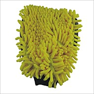Chenille  Velvet Car Washer Cleaner Glove (Yellow &Grey)
