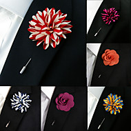 Silk Blend Lapel Flowers Handmade Boutonniere Stick Pin Men's Accessories