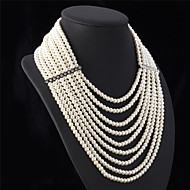 U7® Women's Multilayer Strand Necklaces Clear Rhinestone Luxurious Creamy White Synthetic Pearls Statement Necklace