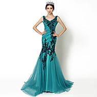 Formal Evening Dress - Jade Trumpet/Mermaid V-neck Court Train Tulle