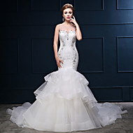Trumpet / Mermaid Wedding Dress Chapel Train Scoop Lace / Tulle / Charmeuse with Beading / Lace / Ruffle