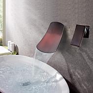 Antico Montaggio su parete Cascata with  Valvola in ceramica Una manopola Due fori for  Bronzo lucidato , Lavandino rubinetto del bagno