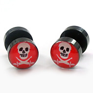 Fashion Acrylic Pirate Skeleton Shape Stainless Steel Dumbbell Double Sides Stud Earrings 2pcs