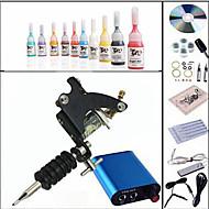 Kompletan Tattoo Kit 1 x čelika tetovaža stroj za obloge i sjenčanje 1 Tattoo Machines Mini napajanje Tinte dostavljaju odvojeno