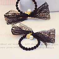 Women's Exquisite Pearl Lace Bowknot  Hair Rope