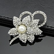 Women's White Rhinestone Crystal Pearl Flower Brooch for Wedding Party,Fine Jewelry