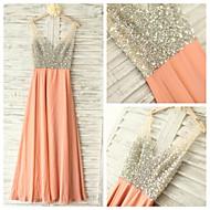 Formal Evening Dress - Orange Ball Gown V-neck Floor-length Chiffon