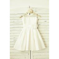 A-line Knee-length Flower Girl Dress - Taffeta Sleeveless Jewel with