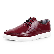 Men's Spring Summer Fall Winter Leather Office & Career Casual Flat Heel Lace-up Black Red White