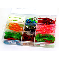 130Pcs 4 Models  Mixed Soft Lure Baits Worms and Jig Fishing lures with a Box