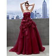 Formal Evening Dress - Burgundy A-line Sweetheart Chapel Train Organza