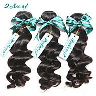 brazilian jomfru håret løs krøllete 3pcs / lot 100% brasilianske menneskehår vever bunter naturlige farge flette hår