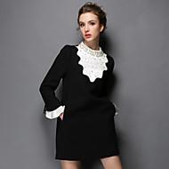 aofuli plus size vrouwen kleding winter vintage luxe kraal patchwork Falbala fashion party / casual / werk kleding