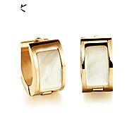 OPK®Natural White Shell Fine Steel Rose Gold Earrings