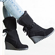 Women's Shoes Leatherette Wedge Heel Wedges / Round Toe Boots Outdoor / Office & Career / Casual Black / Brown / Khaki