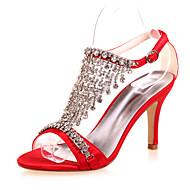 Women's Spring / Summer / Fall Open Toe Satin Wedding / Party & Evening Stiletto Heel Black / Blue / Purple / Red / Ivory / White / Silver
