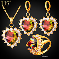 U7® Women's Prong Setting Multicolor Austrian Stone Clear Zircon Gold Plated Romantic Love Heart Three-Piece Jewelry Set