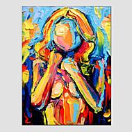 Kézzel festett Absztrakt portréEurópai stílus / Modern Egy elem Vászon Hang festett olajfestmény For lakberendezési