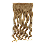 24 Inch 120g Long Curly Gold Blonde 5 Clip In Hair Extensions Heat Resistant Synthetic Fiber