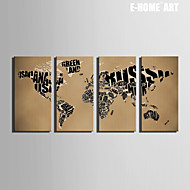 E-HOME® Stretched Canvas Art Map Decoration Painting  Set of 4