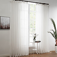 Two Panels Linen Poly Solid Sheer Curtains Drapes White