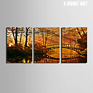 E-HOME® Stretched Canvas Art The Bridges on The River Decoration Painting  Set of 3