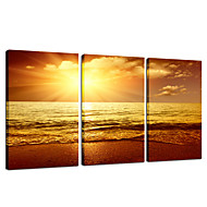VISUAL STAR®Seascape Sunset Stretched Canvas Print Group Wall Art Ready to Hang