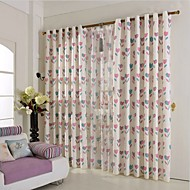 Two Panels European Contracted Fashion Ramie Cotton Printed Curtains