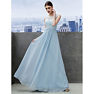 TS Couture® Formal Evening Dress - Sky Blue A-line Scoop Floor-length Chiffon / Lace