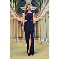 Formal Evening Dress - Dark Navy Sheath/Column Bateau Floor-length Knit