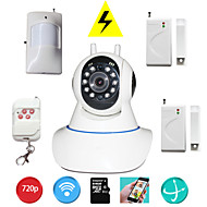 Pan Tilt IP Camera Wifi PTZ 720P Megapixels HD TF SD Card IP Cam With Wireless Burglar Alarm Detector For Home Security