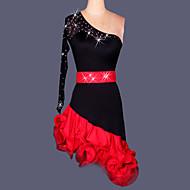 Shall We Latin Dance Dresses Women Performance / Training Spandex / Crepe Crystals/Rhinestones / Side-Draped