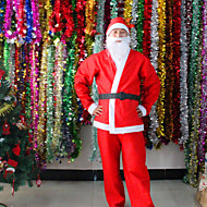 5 In 1 Red Men Santa Claus Costumes Christmas Clothes Male Cosplay Xmas Suit With Belt Beard Hat Pants