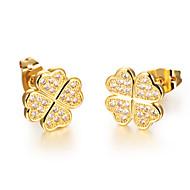 ailaicity®Lucky Clover AAA Zirconium 18K Gold Earrings