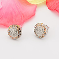Women's Fashion Elegant More Colors Set of Two Stainless Steel Earring with Rhinestone