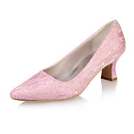 Women's Spring Summer Fall Lace Wedding Party & Evening Chunky Heel Black Blue Pink Ivory White