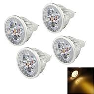 YouOKLight® 4PCS MR16 4W 320lm 3000K 4 LED Warm White Light Spotlight - Silver(DC12V)