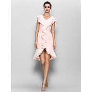 Lanting Bride® Knee-length Chiffon Bridesmaid Dress Sheath / Column V-neck with Buttons / Cascading Ruffles