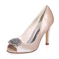 Women's Spring / Summer / Fall Peep Toe Satin Wedding / Party & Evening Stiletto HeelBlack / Blue / Red / Ivory / White / Silver /