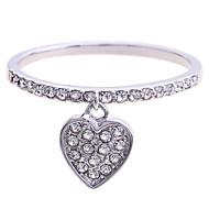 European Style Fashion Drill Peach Heart Sterling Silver 925 Ring