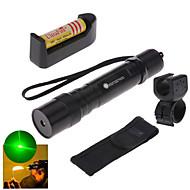 LT - 5mw 532nm Visible Adjustable Beam Green Laser  Pen Flashlight - Black