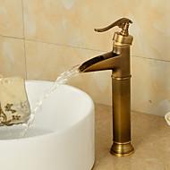 Antique Set de centre Cascade with  Valve en céramique Mitigeur un trou for  Bronze antique , Robinet lavabo