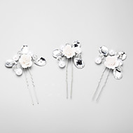 Women's / Flower Girl's Rhinestone / Alloy / Imitation Pearl Headpiece - Wedding / Special Occasion Hair Pin 3 Pieces