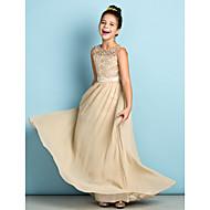 Lanting Bride® Gulvlang Chiffon / Blondelukning Junior brudepigekjole - Mini-me A-linje Dyb nedringning med Blonde
