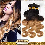Ombre Brazilian Virgin Hair Body Wave Human Hair 3 Pcs Lot Febay Hair Product two tone 1B#27# Blonde Hair Weave Bundles