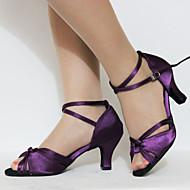 Non Přizpůsobitelné - Dámské - Taneční boty - Latina / Taneční tenisky - Koženka - Rozšířený podpatek - Fialová