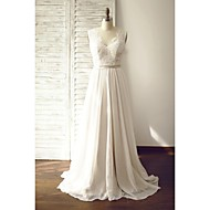 A-line Wedding Dress - Chic & Modern Wedding Dresses in Color / See-Through Wedding Dresses Court Train V-neck Chiffon / Lace withButton