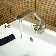 Basin Faucets Contemporary Style Single Handle One Hole Hot and Cold Nickel Brushed